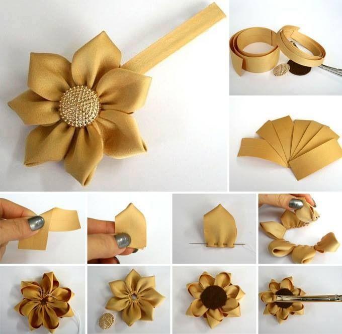 Flor De Cinta Flores Artesanales Manualidades Moños De Lazo
