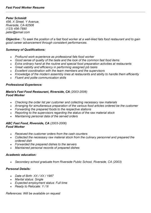 recent college graduate resume sample job shift leader fast food - fast food restaurant resume
