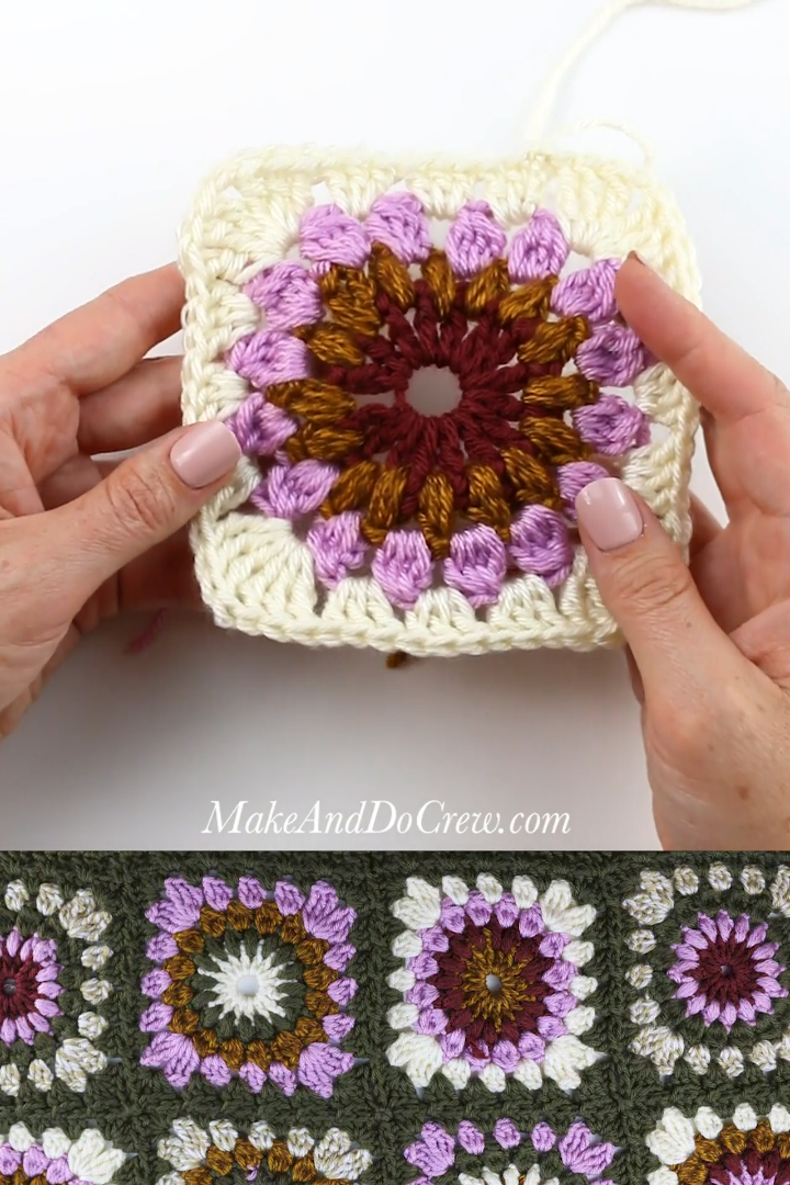 Beautiful Sunburst Granny Square Crochet Pattern + Step-By-Step Video