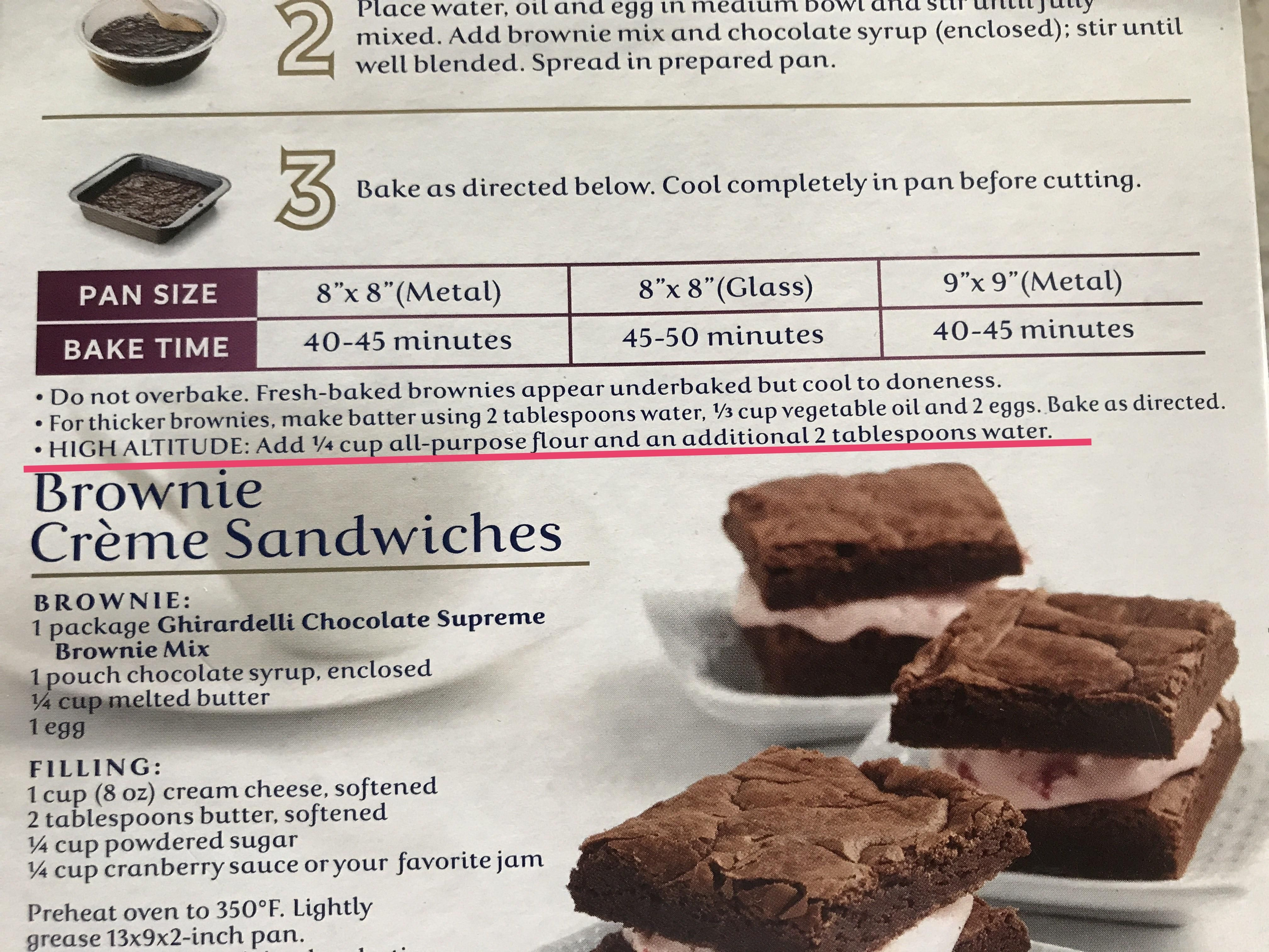 These Brownies Have Instructions For If You Re Baking Them At A