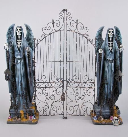 Tabletop Cemetery Gate with Grim Reaper Statues by Katherine\u0027s - halloween statues