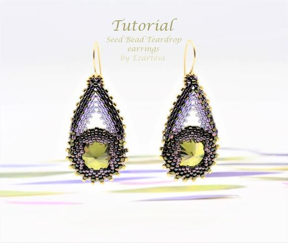 Seed Bead Beaded Teardrop Earrings Tutorial With Olive Cubic