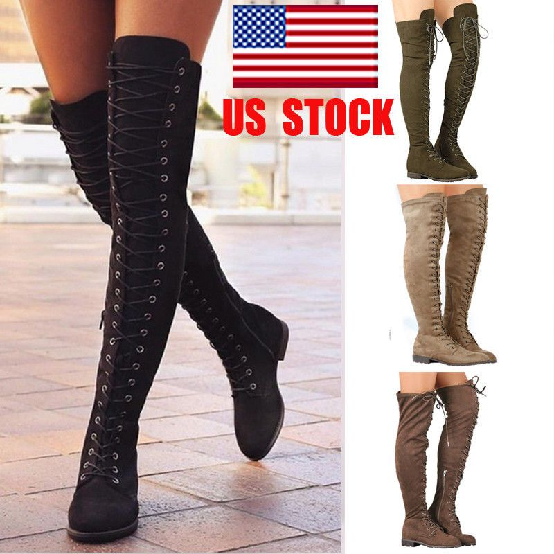 31b336a80284 US Women Thigh High Over The Knee Low Heel Flats Lace Up Boots Zipper Shoes  Size