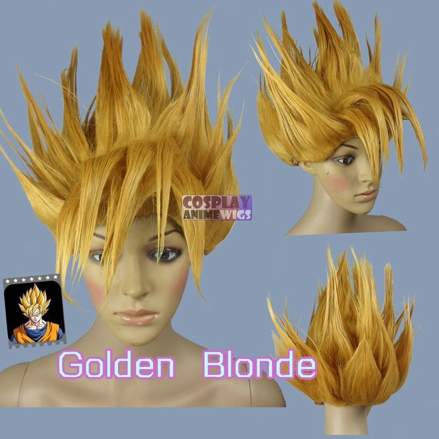 Dragon Ball Z GOKU Golden Blonde Cosplay Costume Wig Styled Hair Wig Cap