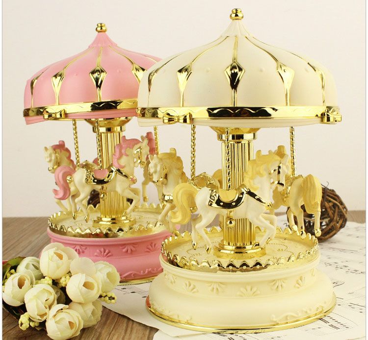 Romantic Night Light Musical Lamp Carousel Music Box Plastic .