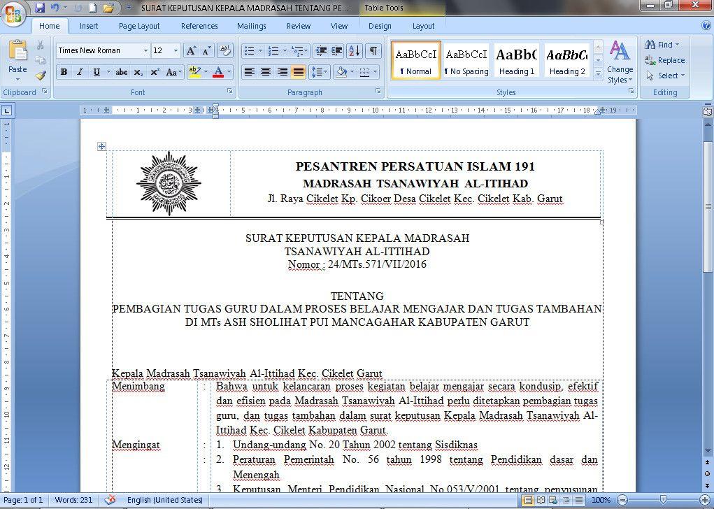 Dokumen Contoh Surat Keputusan Kepala Madrasah Tentang