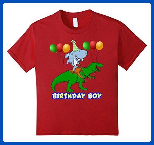 Kids Birthday Boy Shark T Shirt 10 Cranberry