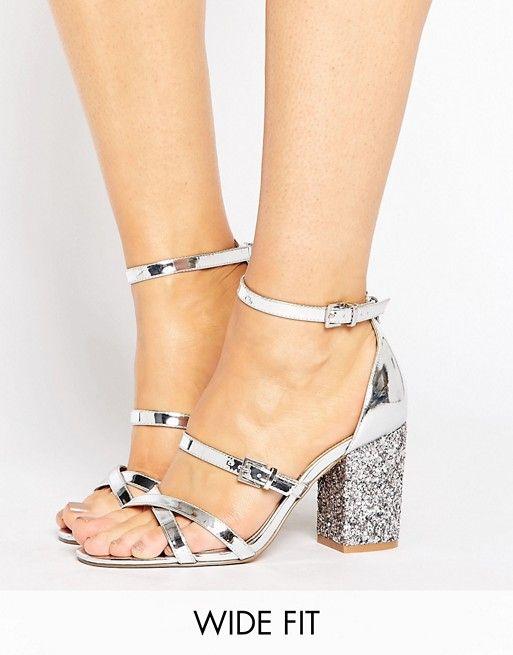 45bcc927678 ASOS HOP IT Wide Fit Glitter Heel Sandals