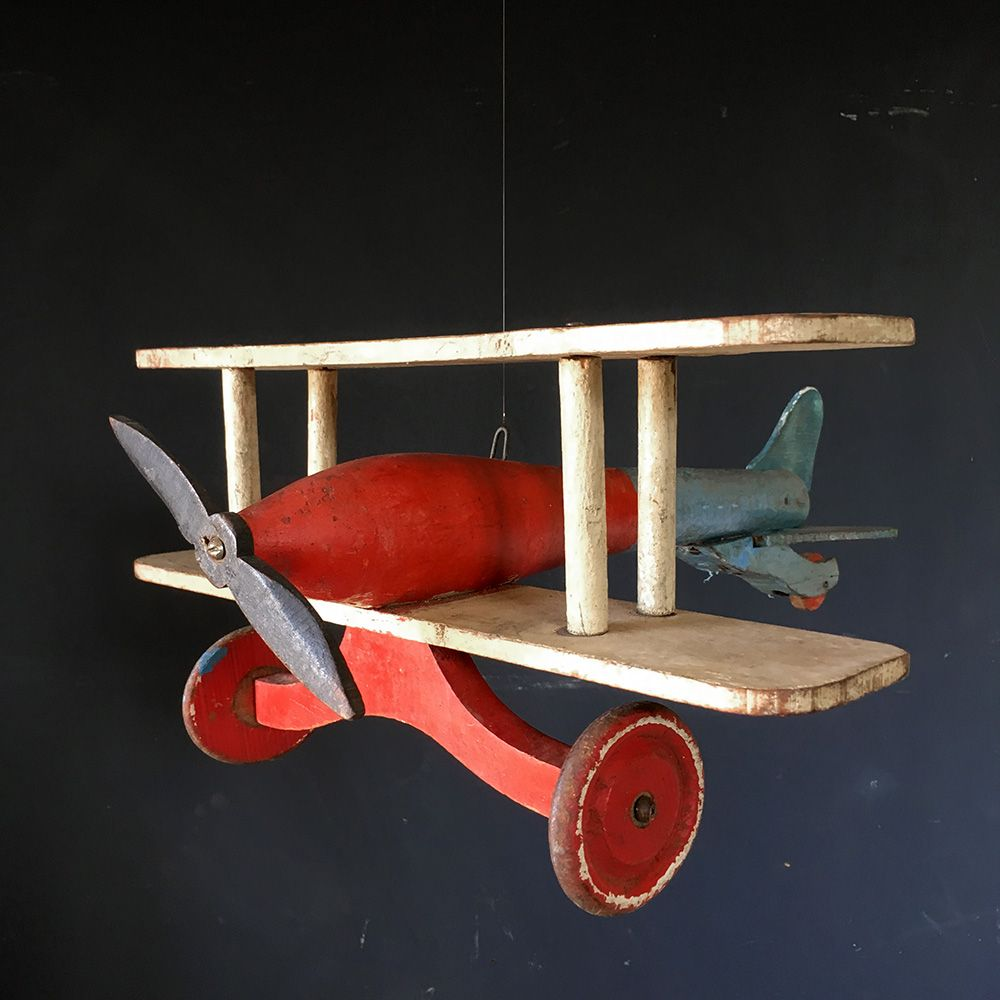 Folk Art Wooden Toy Plane