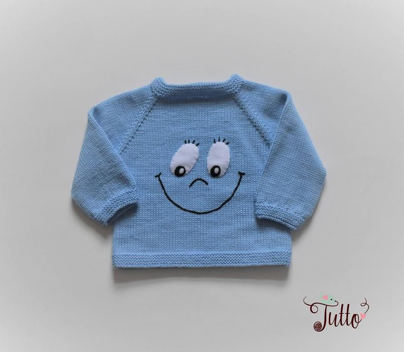 baby blauwe trui glimlach trui emoji trui gebreid wollen