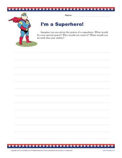 image about Writing Prompts for 4th Grade Printable identified as Im a Superhero Training Materials Exciting creating prompts