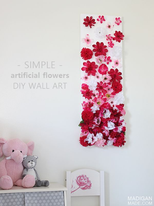 Modern DIY artificial silk flower wall art for girls nursery