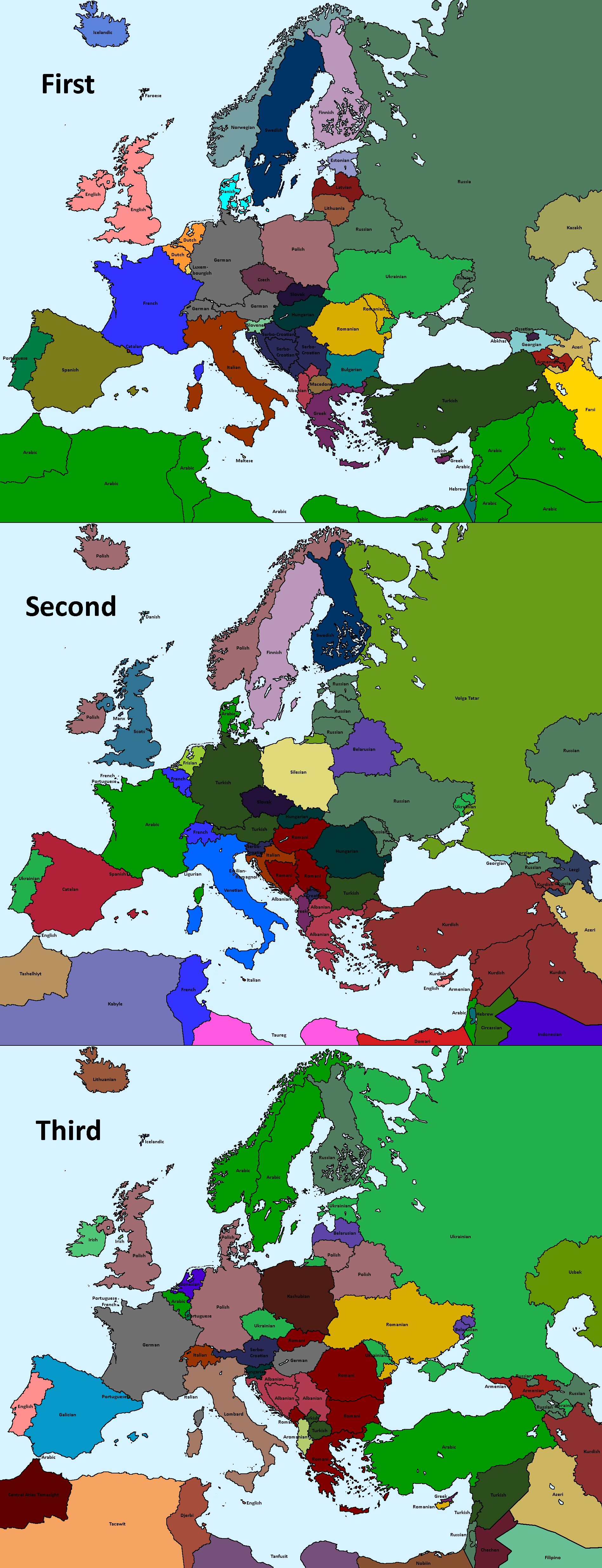 top 3 most spoken languages by country in europe