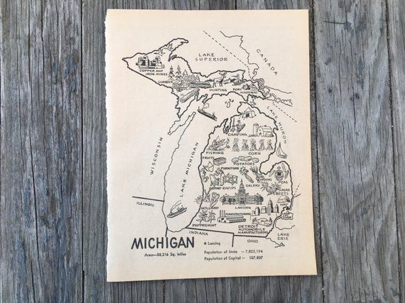 Michigan Map Art Vintage Map Print Coloring Book Page Mi Map