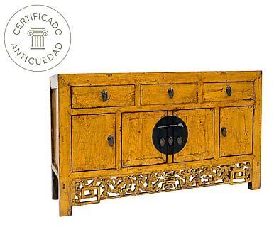 Aparador chino de madera de olmo - amarillo mostaza
