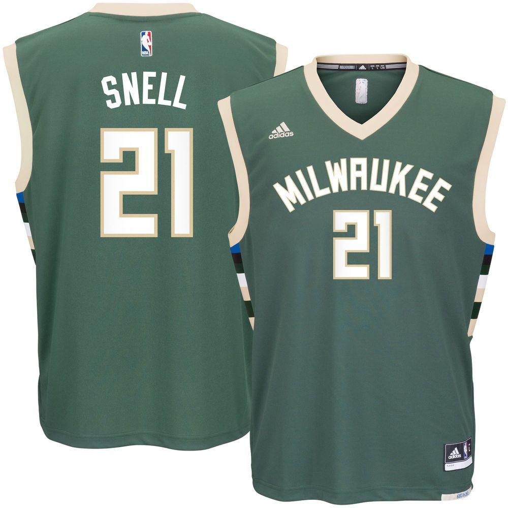 Men s Milwaukee Bucks Tony Snell adidas Green Road Replica Jersey ... 3939d38b0