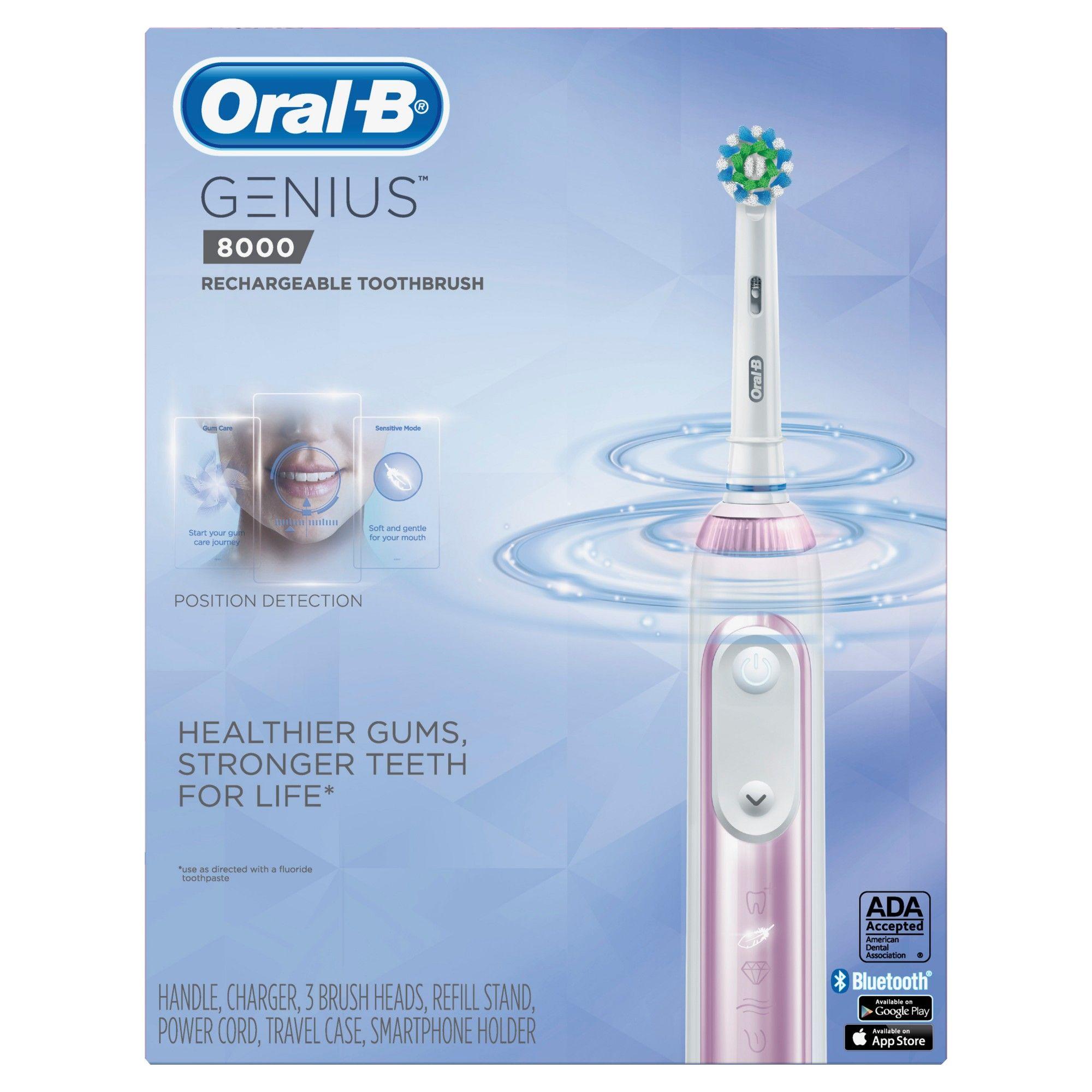 Oral B Genius 8000 Electronic Toothbrush Powered By Braun Sakura Pink In 2020 Oral B Electronic Toothbrush Brushing Teeth