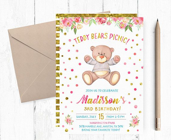 Teddy Bears Picnic Invitations Teddy Bear Picnic Birthday