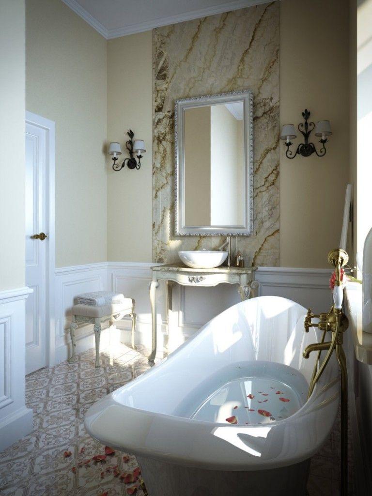 Small Luxury Bathroom Natural Patterned Granite Bathroom Backsplash ...