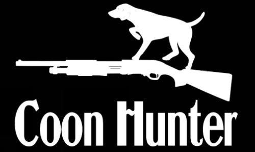 Coon hunter sticker dog and gun custom sticker shop