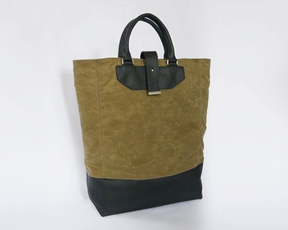 Oil-Skin and Leather Tote, Women's or Men's. $110.00, via Etsy.