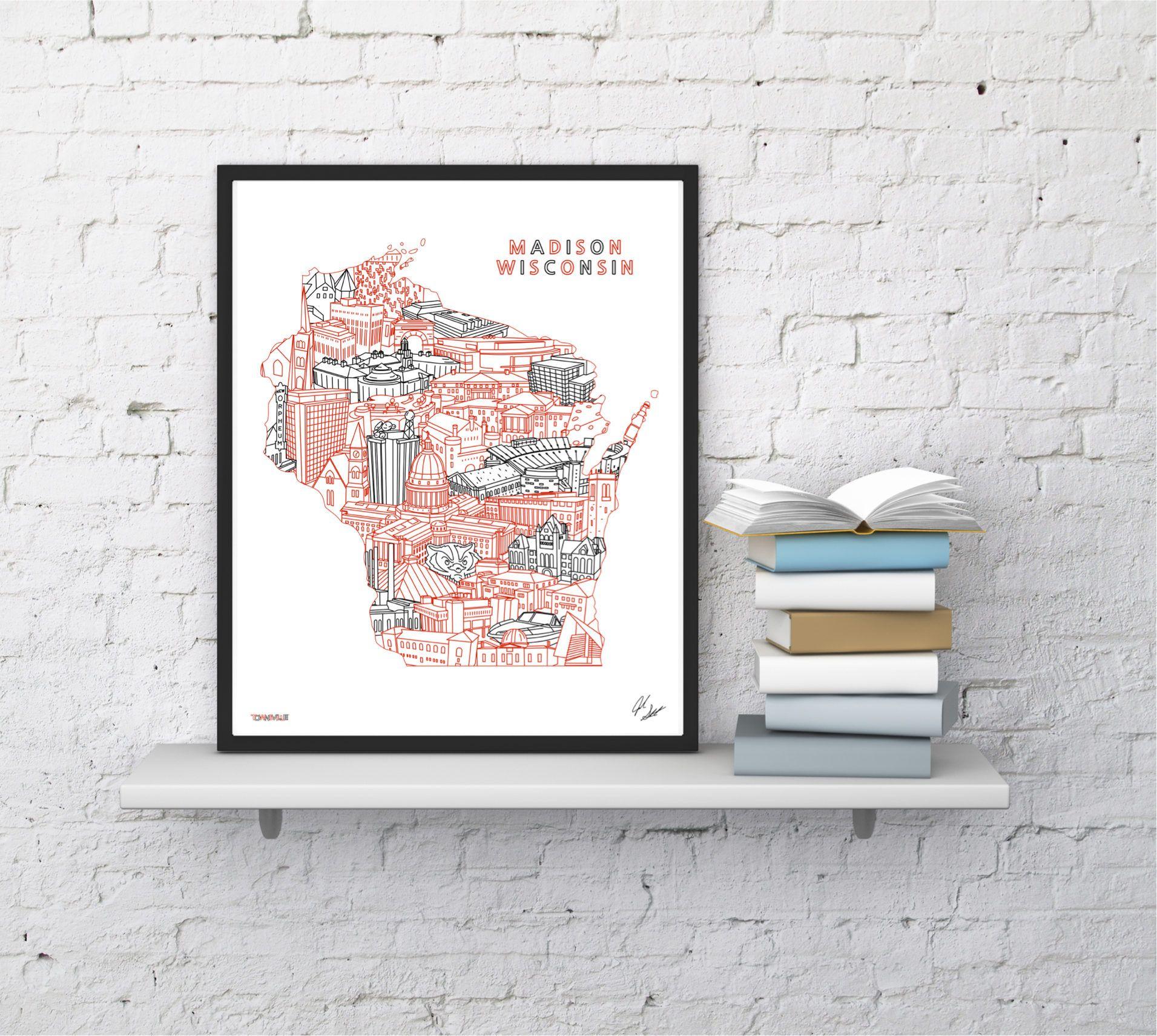 Madison wisconsin skyline landmarks cityscape art print by