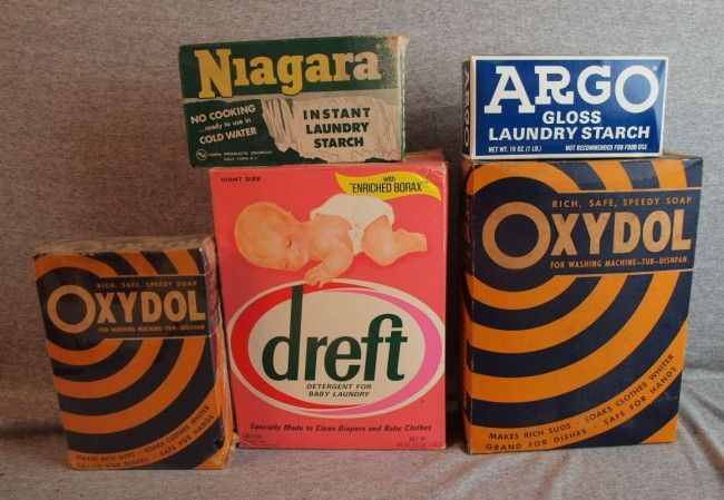 Lot Of 5 Laundry Detergent Advertising Boxes With Contents