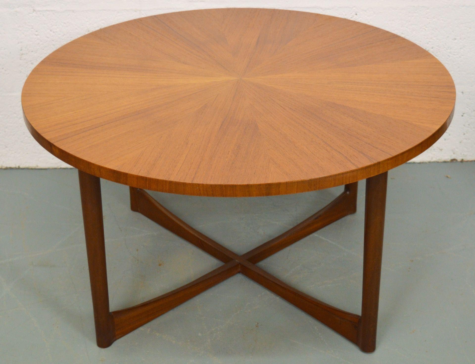 Mid century teak sunburst coffee table by mcintosh