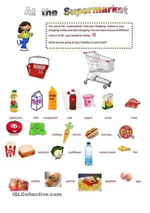 Math Worksheets supermarket math worksheets : Pictionary about things you can buy at the supermarket and ...
