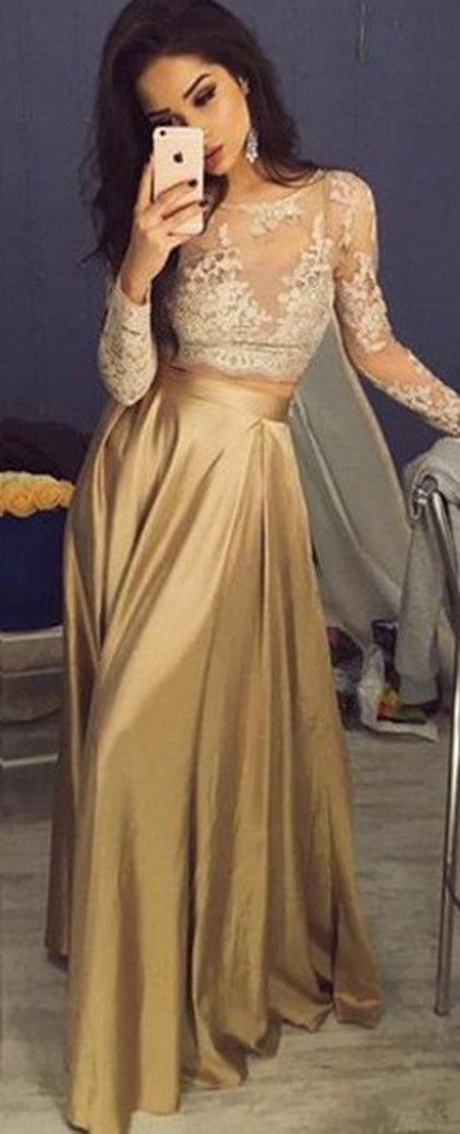 Charming Scoop Long Sleeves Long Gold Prom Dress with Lace Top ...