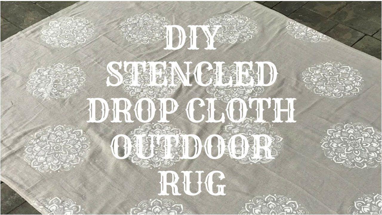 DIY OUTDOOR STENCILED DROP CLOTH RUG | Drop cloth rug ...