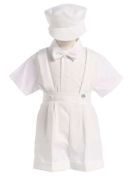 23e231764 Boys White Dressy Shorts   Suspenders with Cap