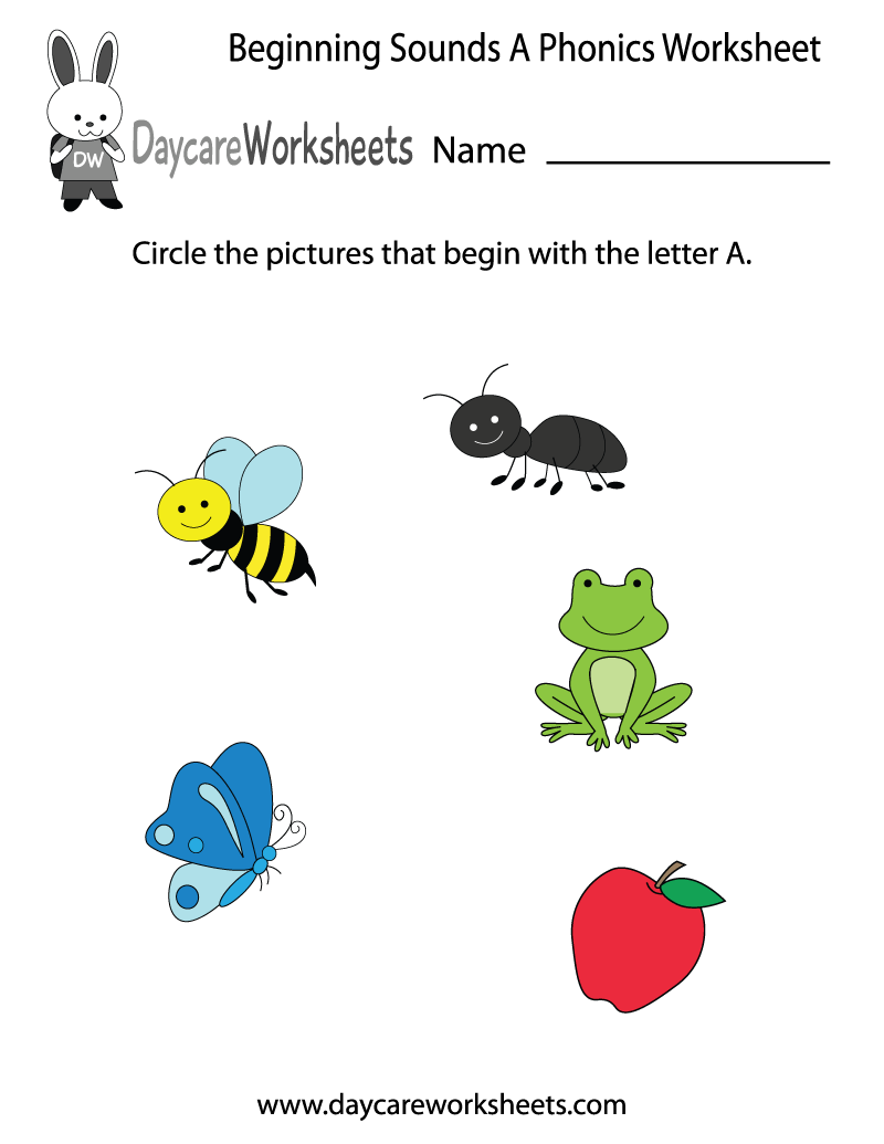 This letter a phonics worksheet helps preschoolers identify the this letter a phonics worksheet helps preschoolers identify the beginning letter of common objects by sounding robcynllc Images