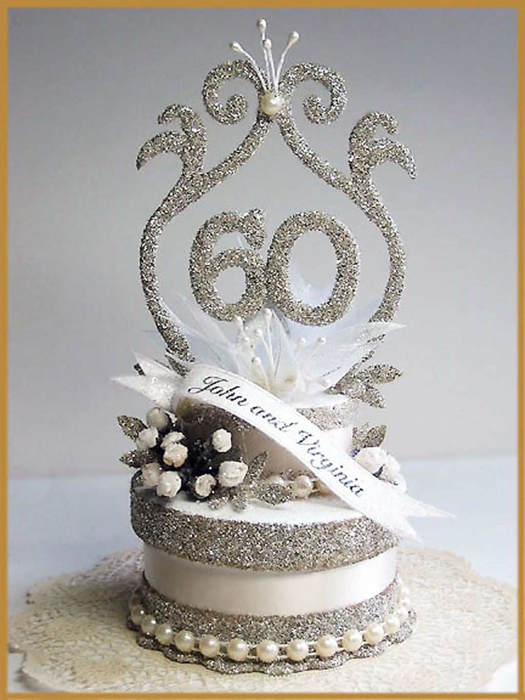 60th Wedding Anniversary Cake Topper Picture in Wedding ...
