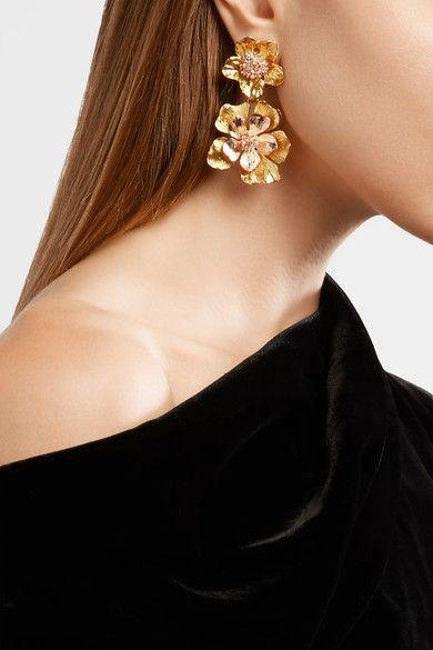 Rosette Gold-tone Clip Earrings - One size Oscar De La Renta OKYHT0cz