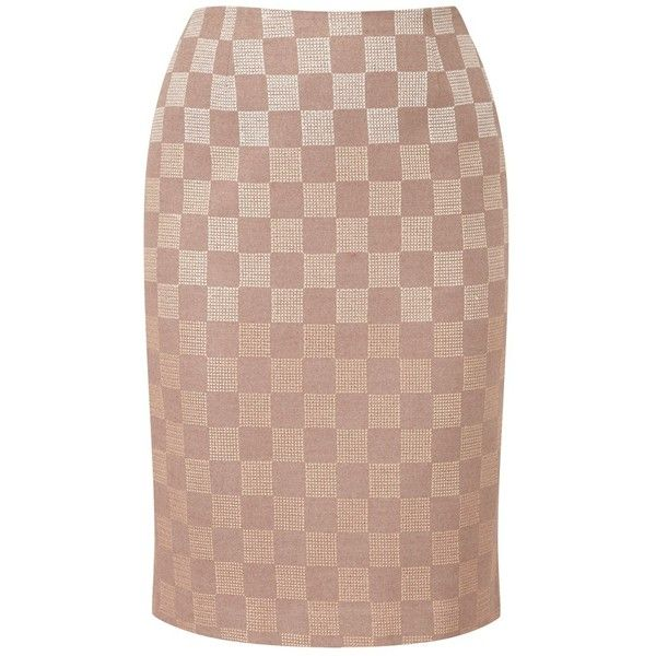 Viyella Check Embroidered Pencil Skirt, Taupe found on Polyvore | #SpringAutumn #WarmSpring #natural #romantic #style