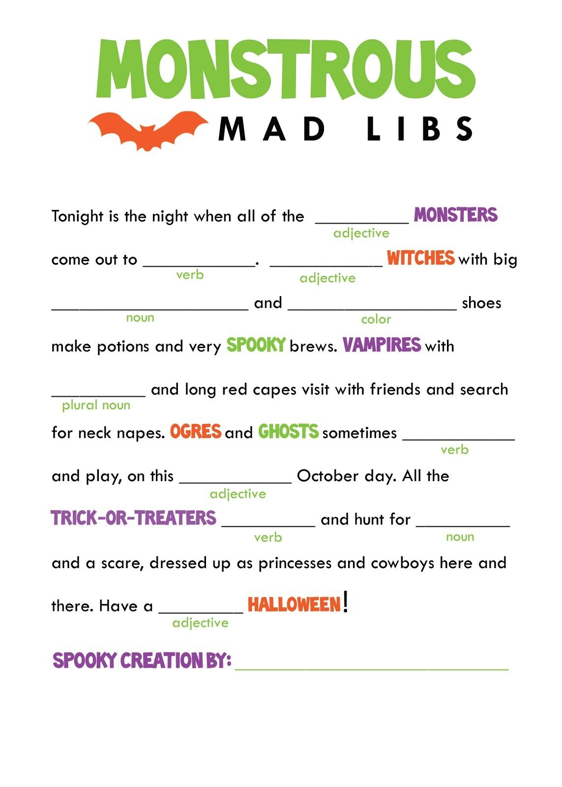This is a graphic of Monster Mad Libs for Kids Printable