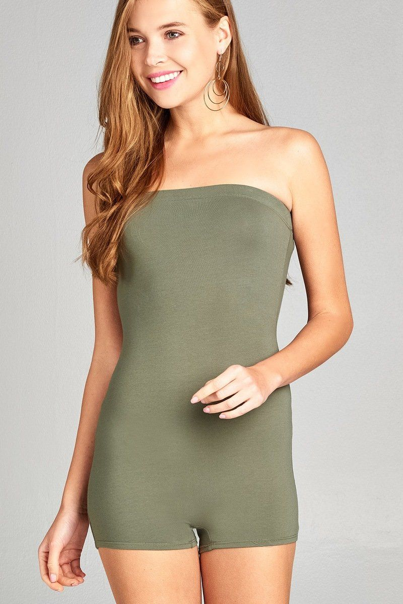 365ca618e77d Ladies fashion strapless bodycon tube cotton spandex romper - The Jewelry  Barn
