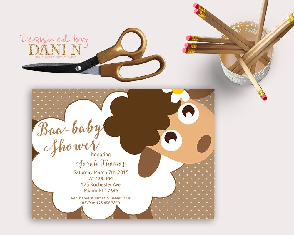 Sheep baby shower, baby sheep shower invitation, dots invite ...