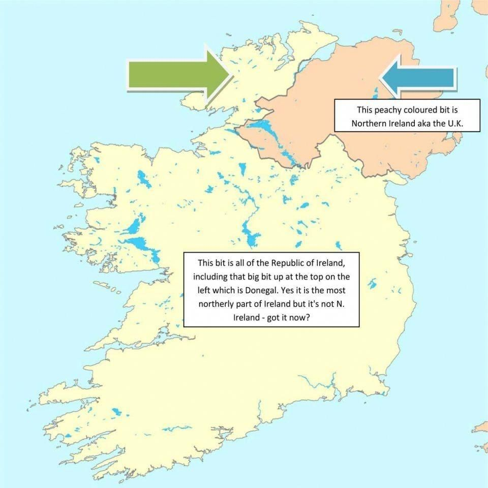 Map Of N Ireland.A Map Of Ireland Showing The Differences And Locations Of The North