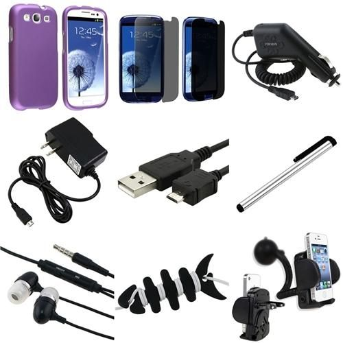 INSTEN 9in1 Purple Hard Case Privacy LCD Cable Charger For Samsung Galaxy S3 SIII i9300 Review Buy Now