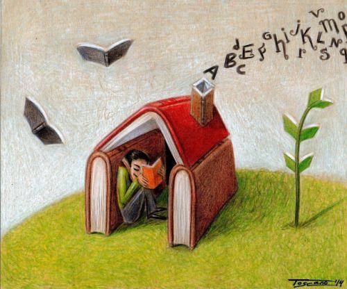La Lectura Mi Hogar Ilustracion De Walter Toscano Libro De