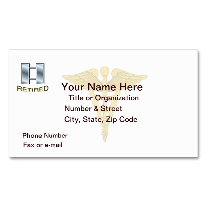 Army captain medical corps retired business card i love this design army captain medical corps retired business card i love this design it is available for customization or ready to buy as is all you need is to add your colourmoves