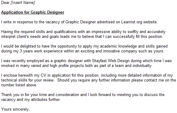 cover letter design job
