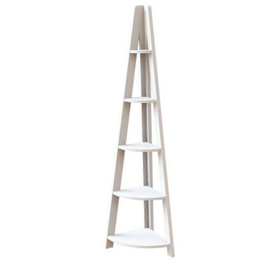 Paltrow Corner Shelving Unit In White With Ladder Style Corner Shelving Unit Home Furniture Online Corner Shelves