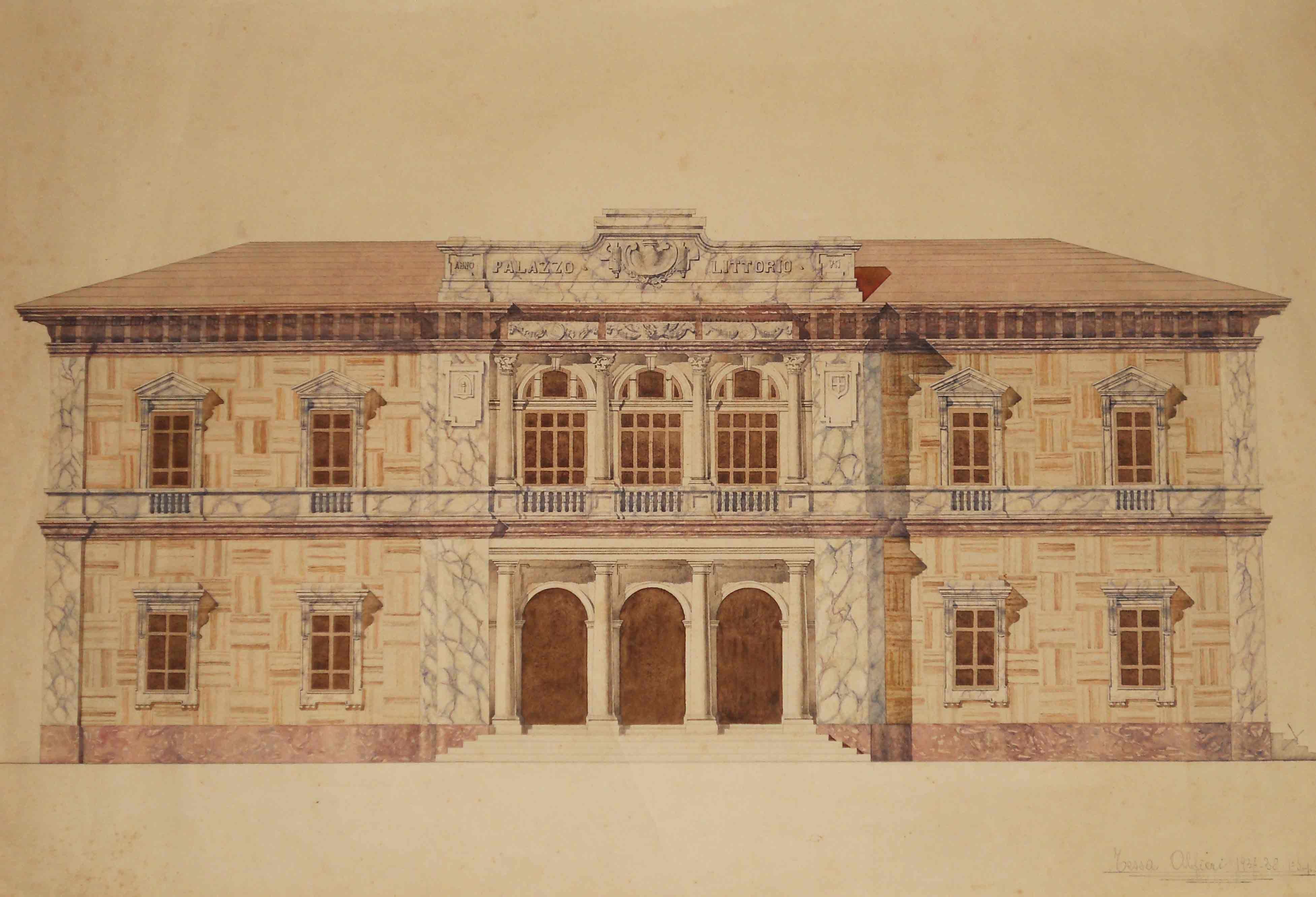 Progetto di casa del littorio attuale palazzo comunale di pietrasanta disegno ad acquerello - Disegno progetto casa ...