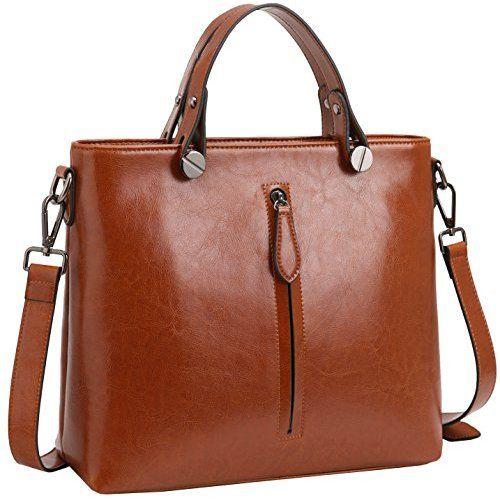 a06679ec62 Heshe Women s Leather Handbags Shoulder Bags Tote Bag Cross Body Purses for  Ladies (Brown-R)
