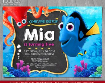 Finding Dory Invitation Finding Nemo Dory Invite di MaluhiaPrints
