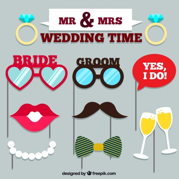 Set of wedding accessories for photo booth Free Vector