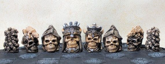 New Skull  Chess Set/ Pieces  Painted  Board by ChessMouldsAndMore, £55.00
